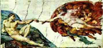 Michelangelo's Frescoe of the Creation of Adam from the Sistine Chapel